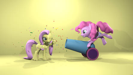 Pinkie Pie Surprise Cannon With Fluttershy by RedArrow2