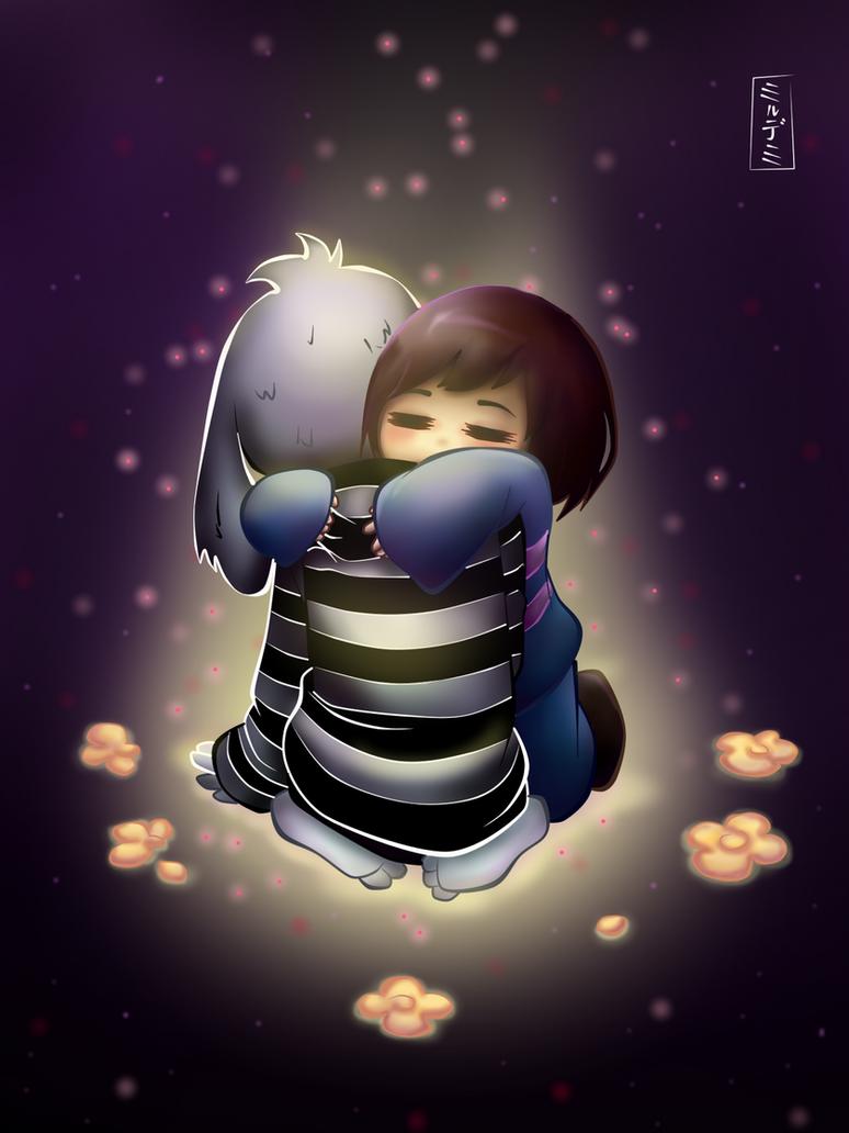 Frisk hugs Asriel Undertale fan art by Mildemme