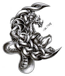 celtic moon + dragon