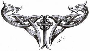celtic cross + dragons