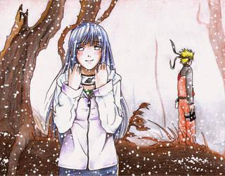 Hinata Hyuuga - First Snowfall by happylilsquirrel