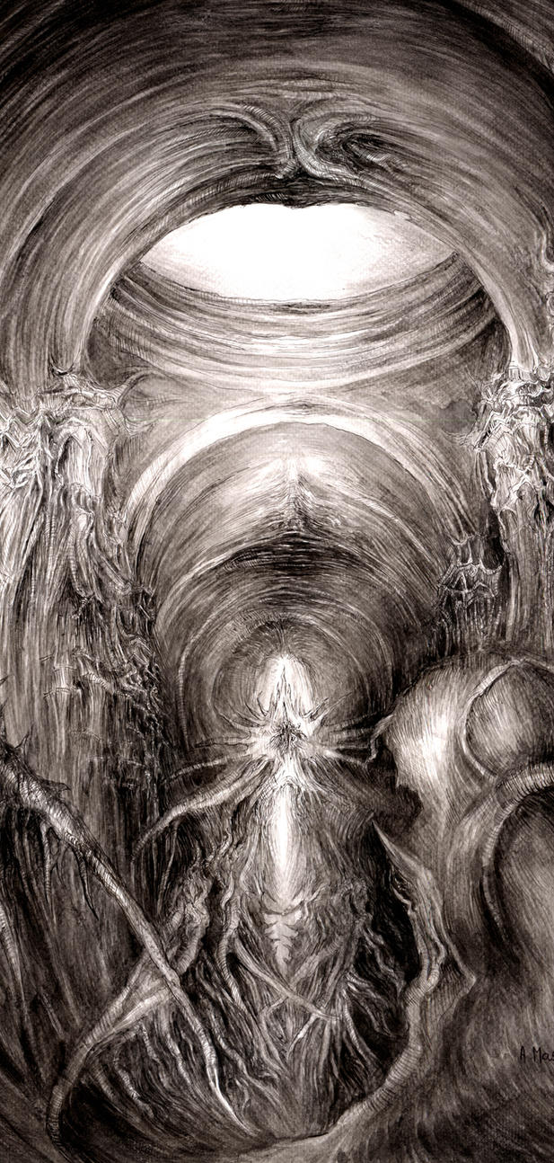 Dark Cathedral (part)- Knowledge drawing on paper by masiani