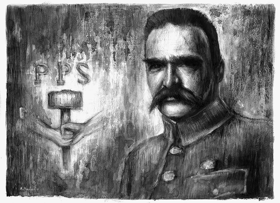 Jozef Pilsudski - drawing on paper by masiani