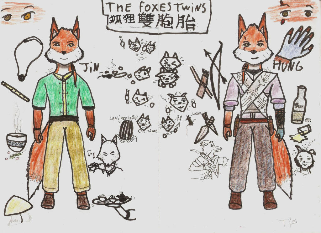 The foxes twins : own characters for TOD ful body by ArtboyI