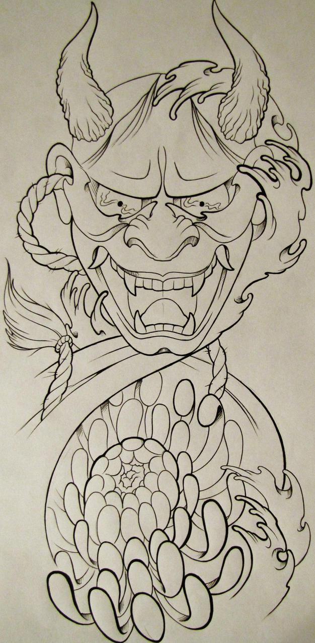 Hannya-Chrysanthemum by TattoosByAaron on DeviantArt