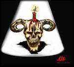 candelabra skull colored