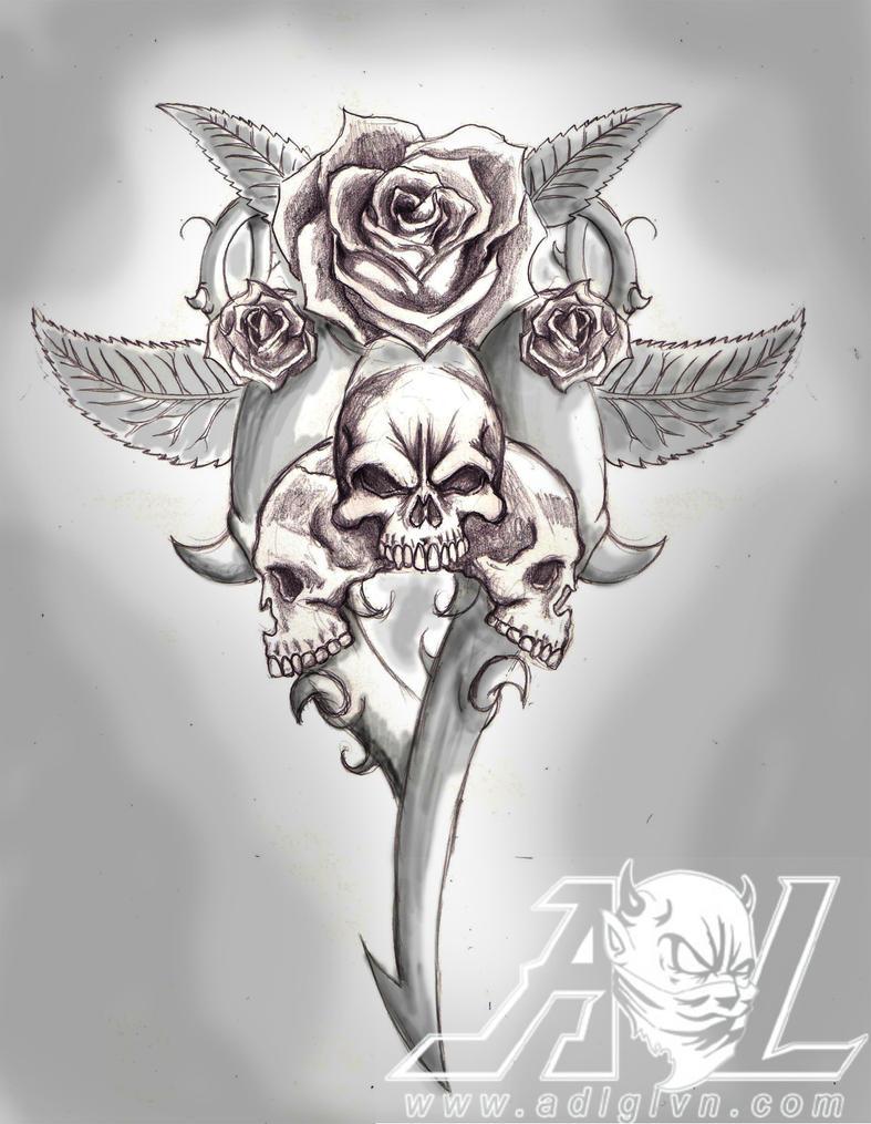 Rose Skull by 71ADL17 on DeviantArt