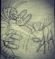 Gigan (modified) vs. Kumonga  by Erickzilla