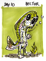 30characters day 10 - hector the weretrout by not-fun