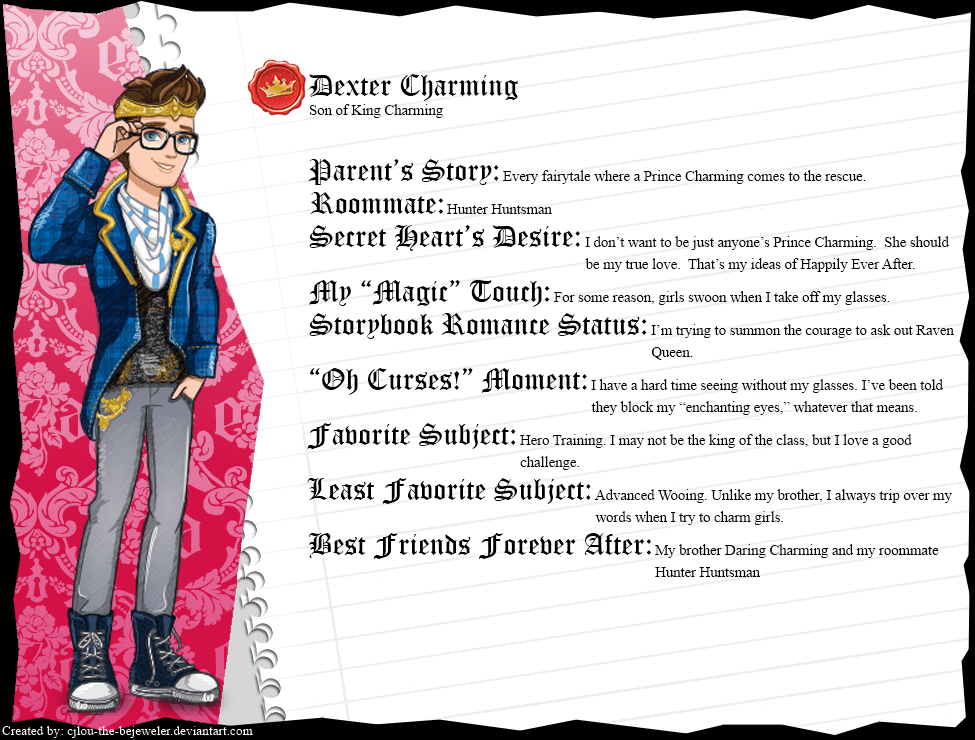 Ever After High - Dexter Charming's Full Bio v2 by cjlou