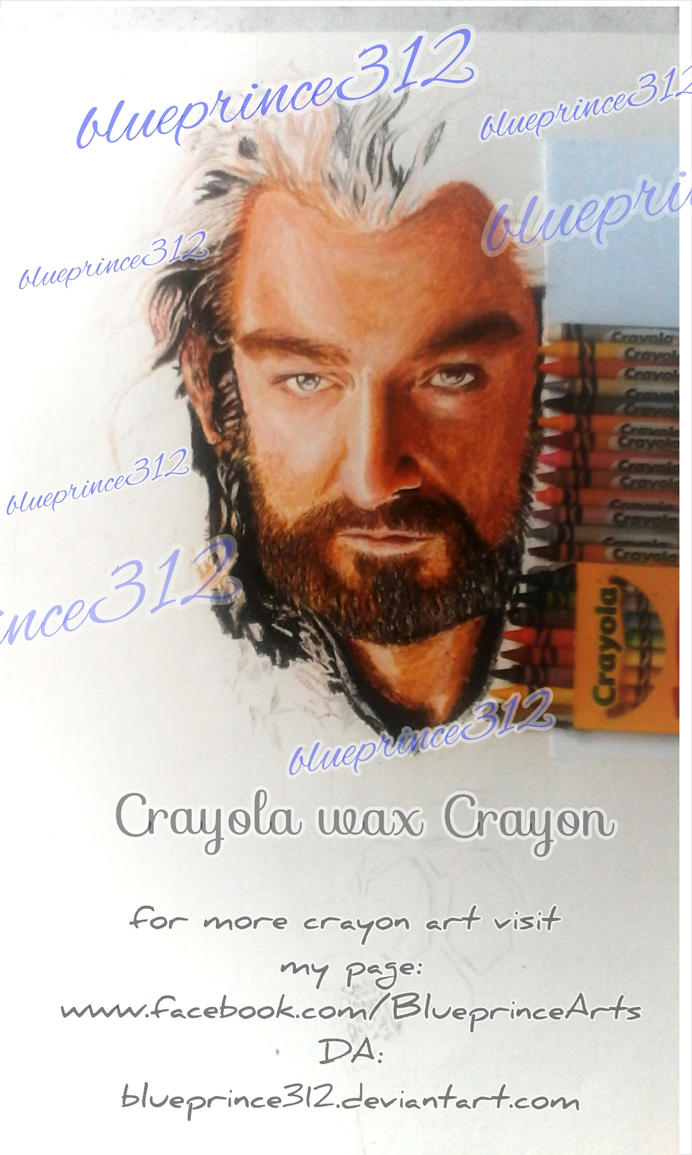 crayon drawing of Thorin by blueprince312