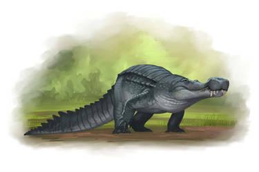 Draw Dinovember 2016 Day 23 Sarcosuchus by daitengu