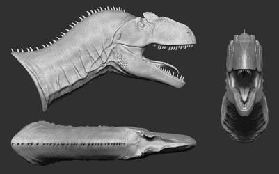 AllosaurusBust WIP Alt Views by daitengu