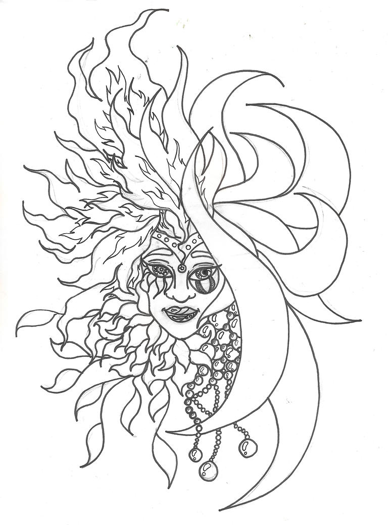 Sun and moon sketch by raven211 on deviantart for Sun moon coloring pages