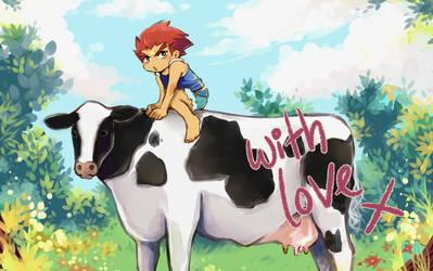 [BeyArMaMo Artbook] Daichi and Cow by Gasara