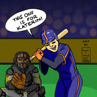 Baseball Art of Catcher and Hitter For Katerin by LineDetail