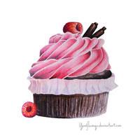 Chocolate Raspberry Cupcake by YardFlamingo
