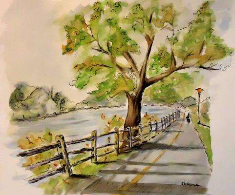 Watercolor sketch - Rockford Riverside Park