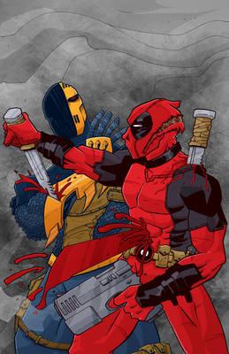 low rez Deadpool vs Deathstroke color