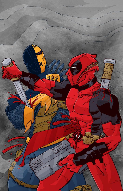 low rez Deadpool vs Deathstroke color  by BankyStar