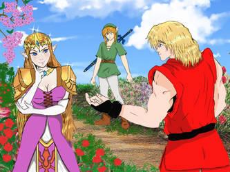Super Smash Bros.Ultimate: Ken flirting with Zelda by wez1010