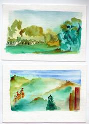 landscape aquarelle colours by aszantu