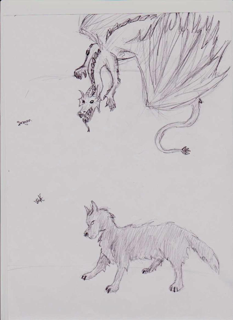 Dragon and wolf by yom100