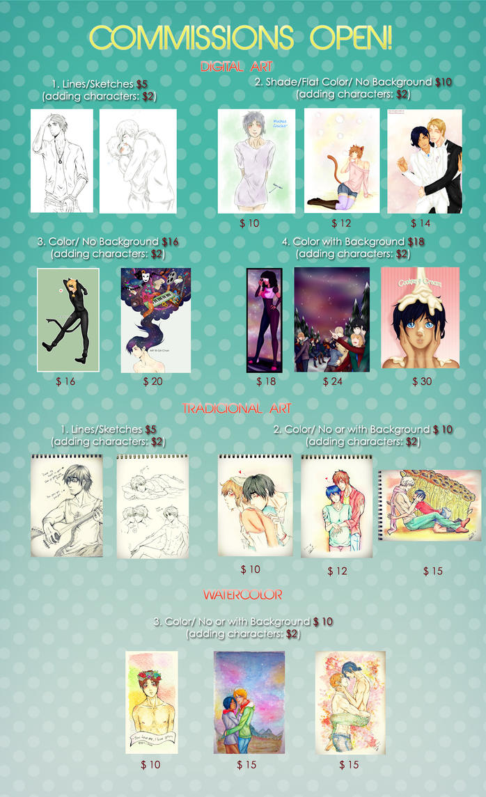 .:COMMISIONS OPEN:. by kiba-kun1289