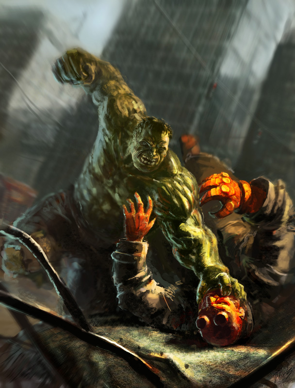 hulk vs hellboy by gabahadatta