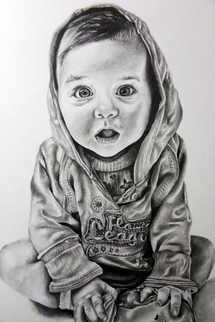 Baby child art portrait in pencil drawing by ...
