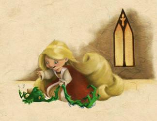 Rapunzel and Her Pet Bird by BetterthanBunnies