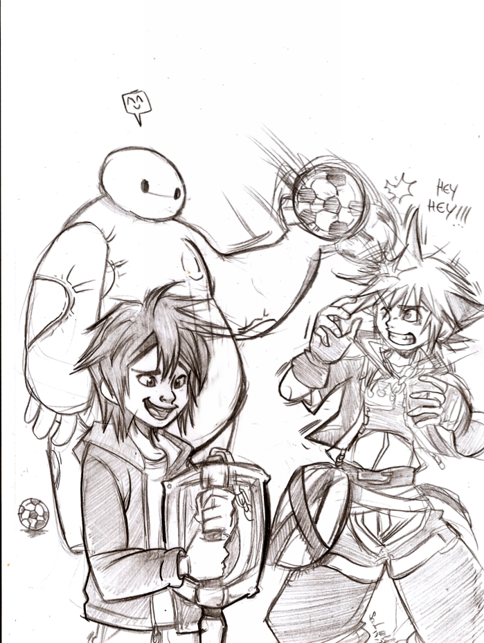 drawing hiro and baymax meet