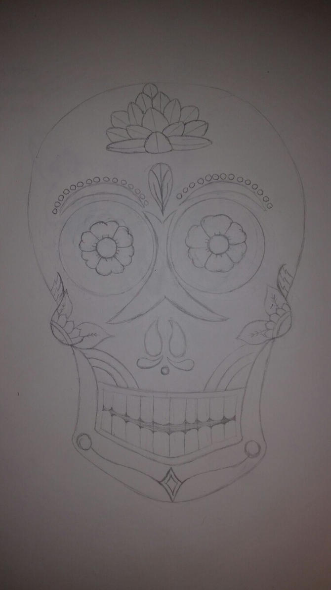 Sugar Skull: Traditional by J-Jinx-x
