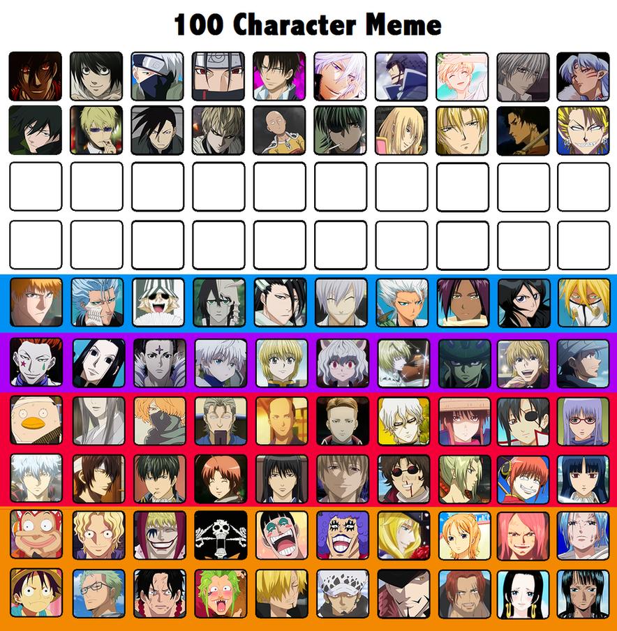 100 Character Meme by SweetShounenAi