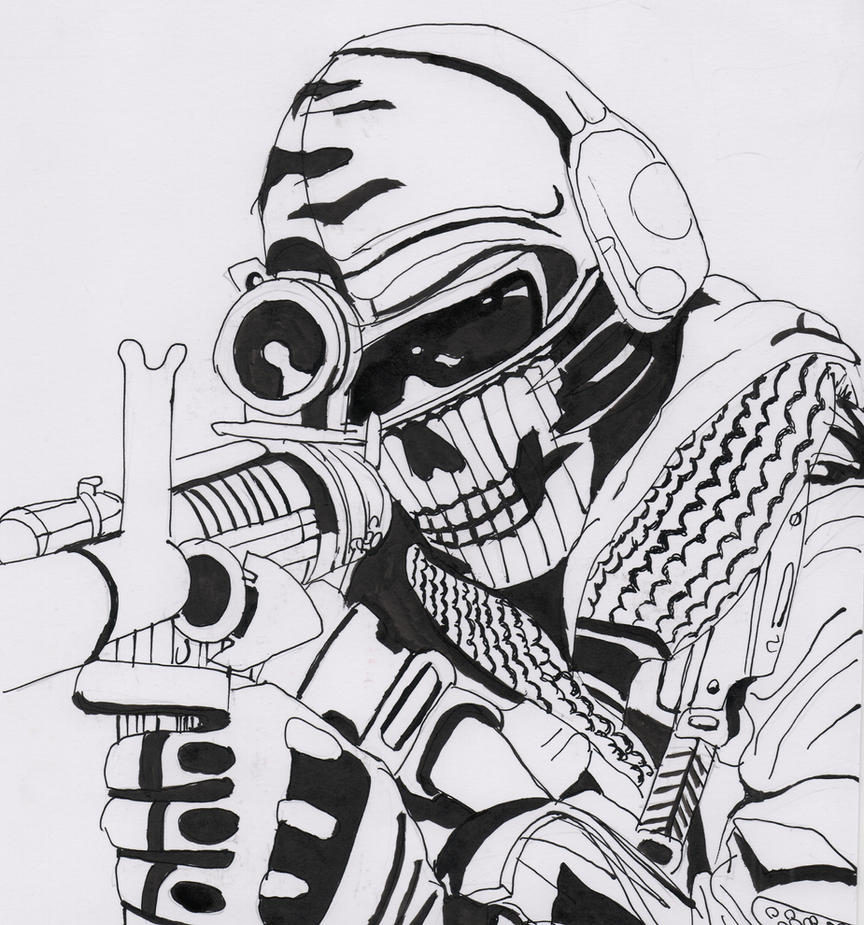 Coloring Pages Of Advanced Warfare : Ghost call of duty by kopale on deviantart