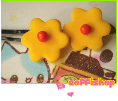 Yellow flowers - hair pins by coffishop