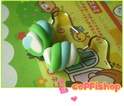 Green blue white marshmallows by coffishop
