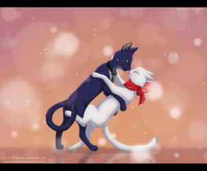 Lune and Yuki. Cat's dance by ArtemisA-wolf