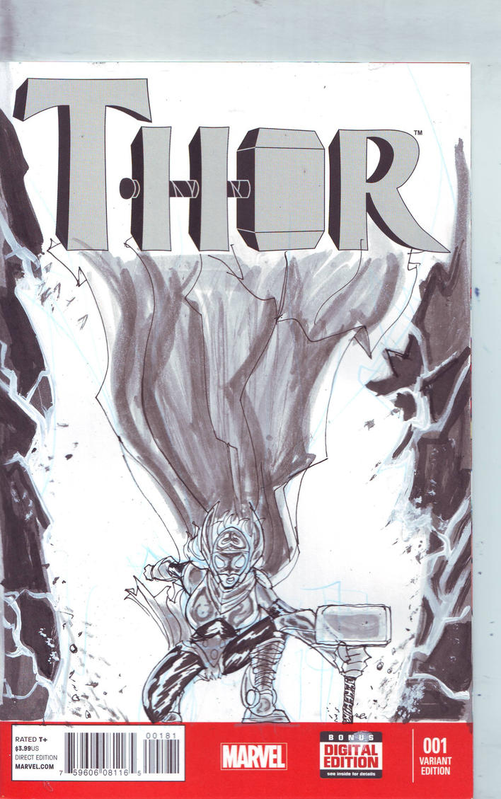 Thor Sketch Cover by Jorell-Rivera