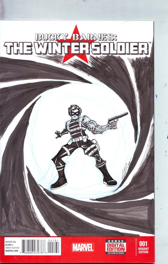 Bucky Barnes: The Winter Soldier Sketch Cover by Jorell-Rivera