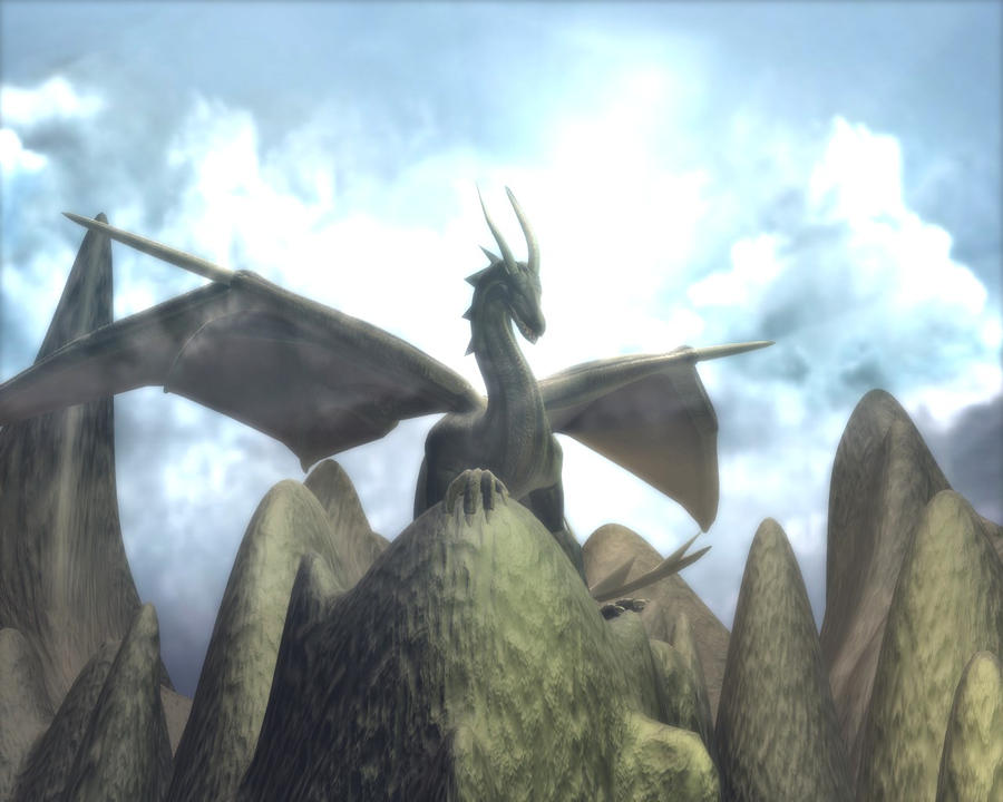 Blender Dragon on mountain 1 by DennisH2010