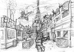 city scene drawing by DennisH2010