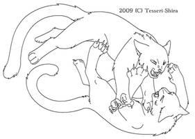 Free Cat fight Lineart
