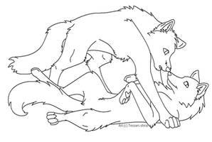 Free Wolf Love Lineart by Nova-Nocturne