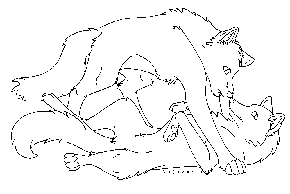 Two Anime Wolves In Love Drawing Sketch Coloring Page