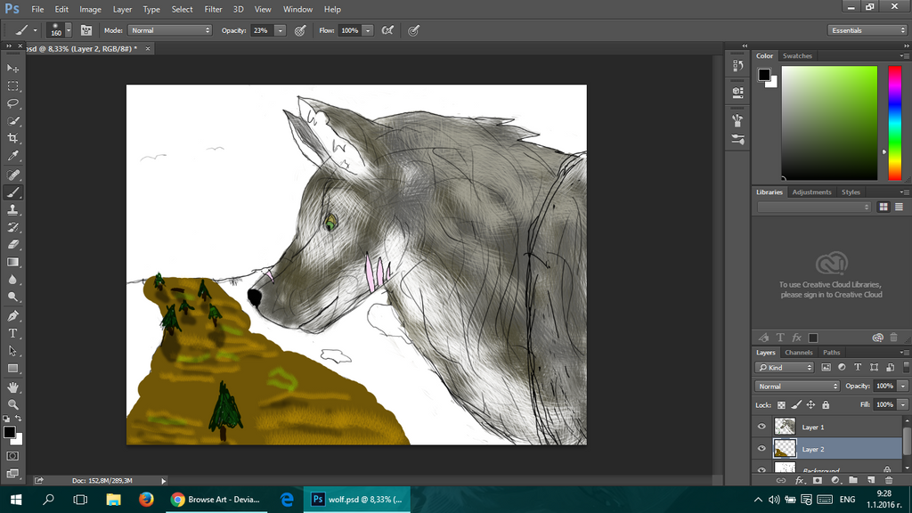 WIP Another wolf drawing by GoldenFireWolf45