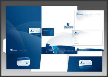 Stepcase logo + stationery