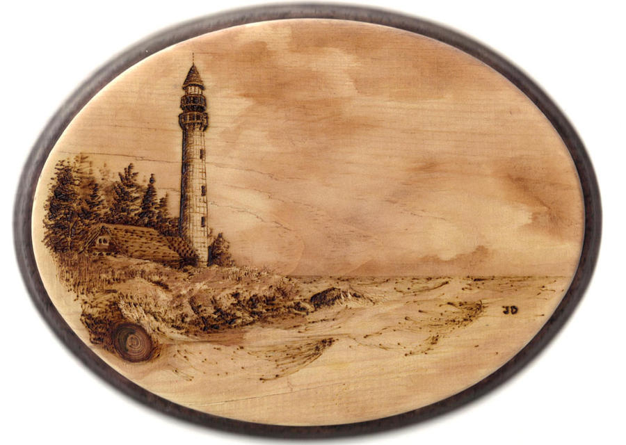 Lighthouse Pyrography and Watercolor 7x9 by JDunifer