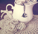 paper, doily and tea
