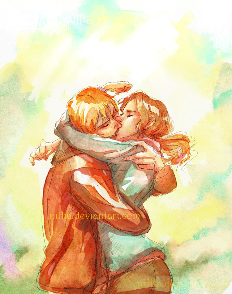 Ron Hermione Kiss by nillia